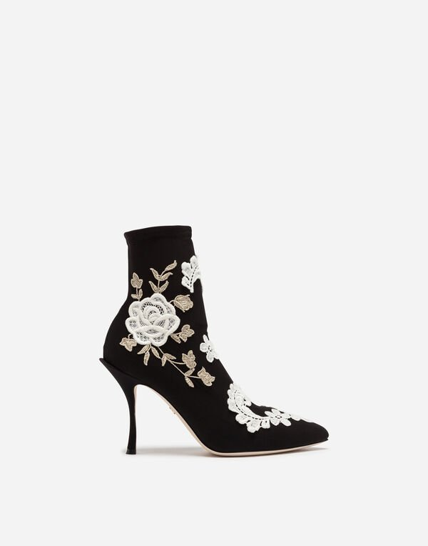 Dolce&Gabbana ANKLE BOOT IN STRETCH JERSEY WITH MACRAMÉ EMBROIDERY
