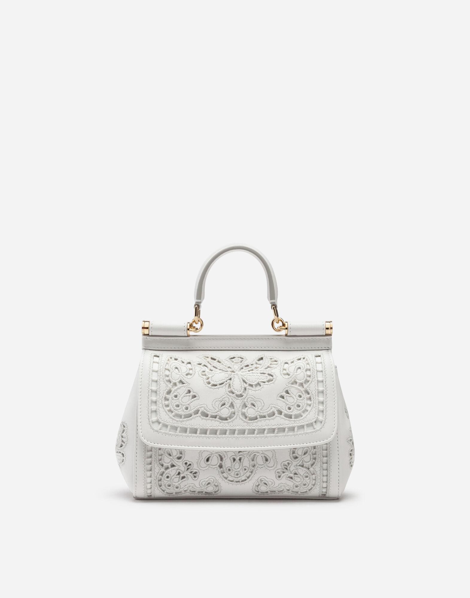 Dolce & Gabbana Small Sicily Bag In Intaglio Nappa Leather In White
