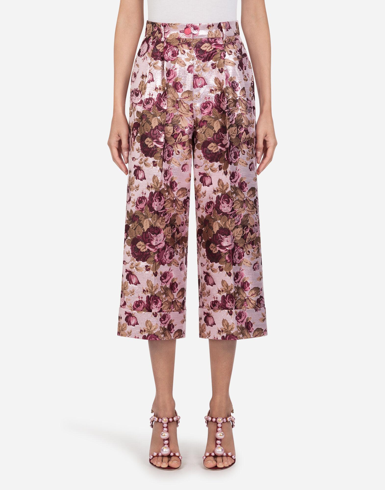 Pantalones Mujer | Dolce&Gabbana PANTALONES CULOTTE EN JACQUARD LÚREX DE FLORES