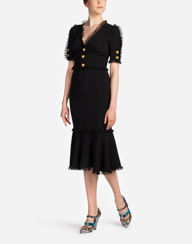 DRESS IN CADY WITH DECORATIVE BUTTONS