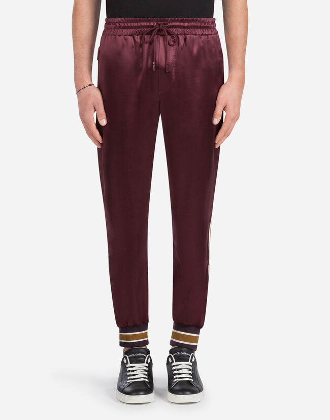 Dolce & Gabbana JOGGING PANTS IN SILK WITH STRIPES