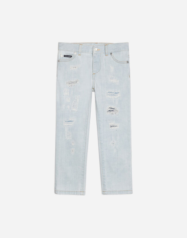 SLIM FIT DENIM JEANS WITH RIPS