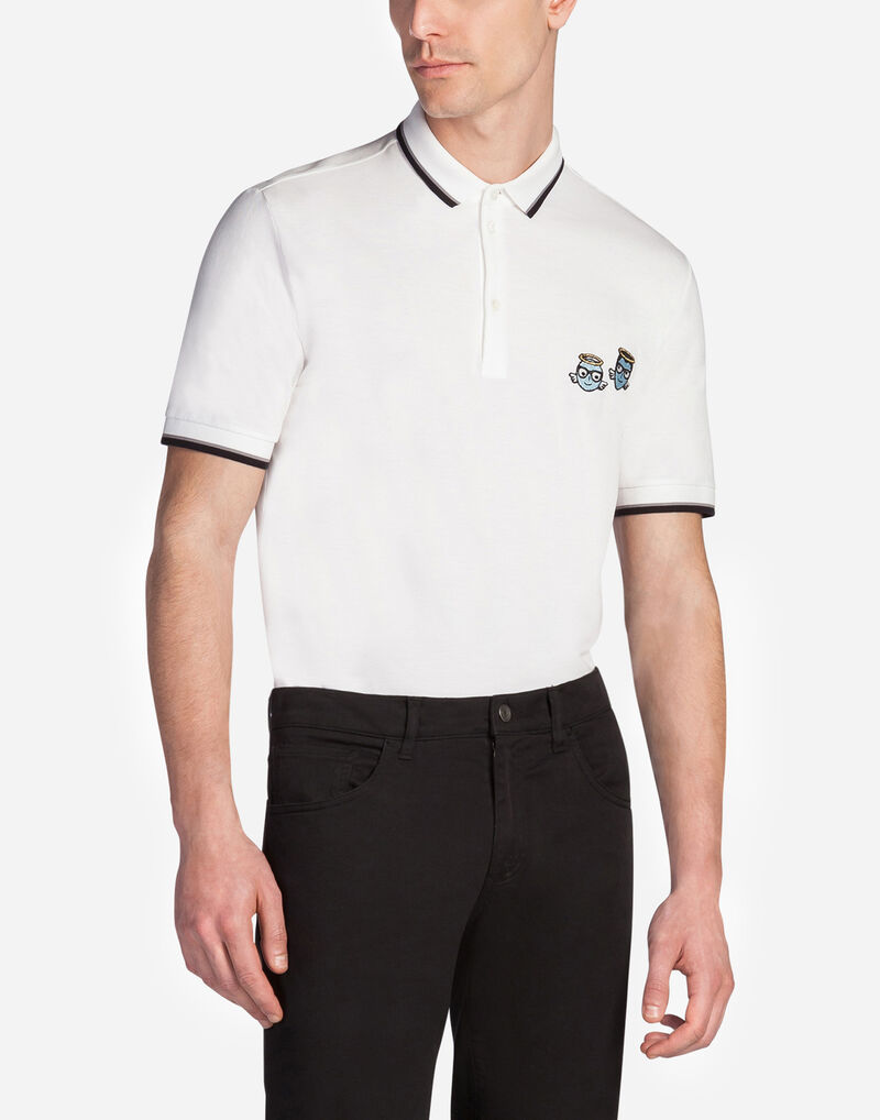 COTTON POLO SHIRT WITH DESIGNERS' PATCH