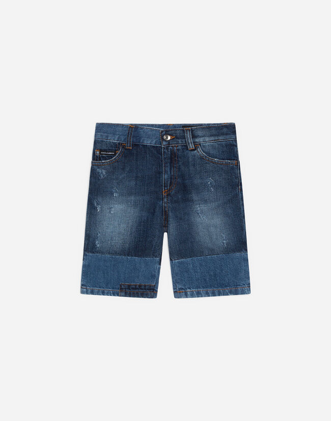 JEAN SHORTS IN TWO-TONE DENIM