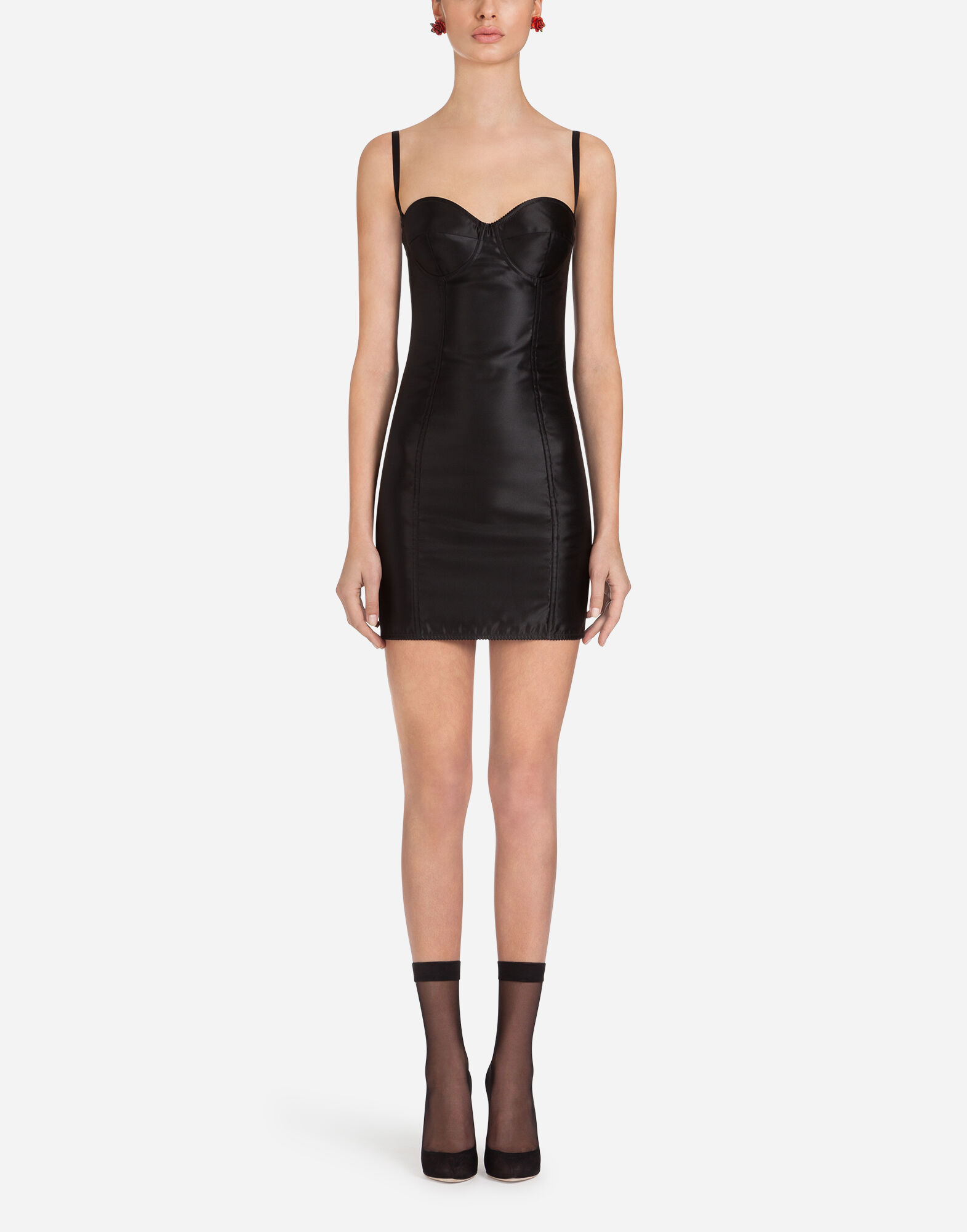 Dolce And Gabbana Black Sateen Bustier Dress