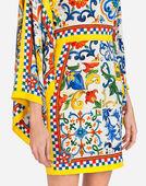 Dolce & Gabbana SHORT SILK DRESS WITH MAJOLICA PRINT