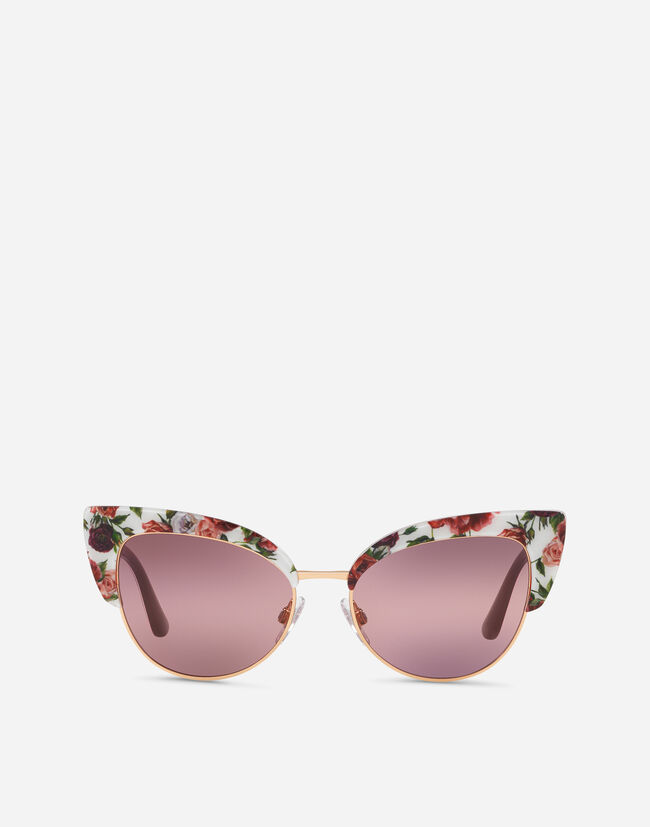 Dolce & Gabbana CAT-EYE SUNGLASSES IN ACETATE WITH FLORAL PRINT