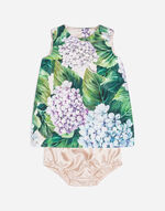 A-LINE DRESS IN PRINTED BROCADE WITH BLOOMERS