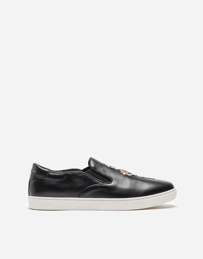 LONDON SLIP ON SNEAKERS IN LEATHER WITH DESIGNERS' PATCHES