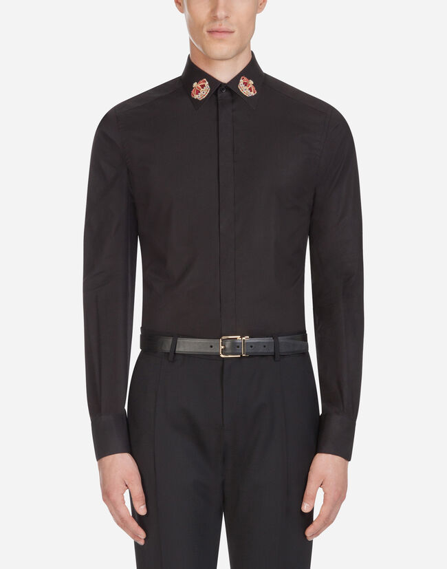 Dolce & Gabbana MARTINI FIT SHIRT IN COTTON WITH PATCH