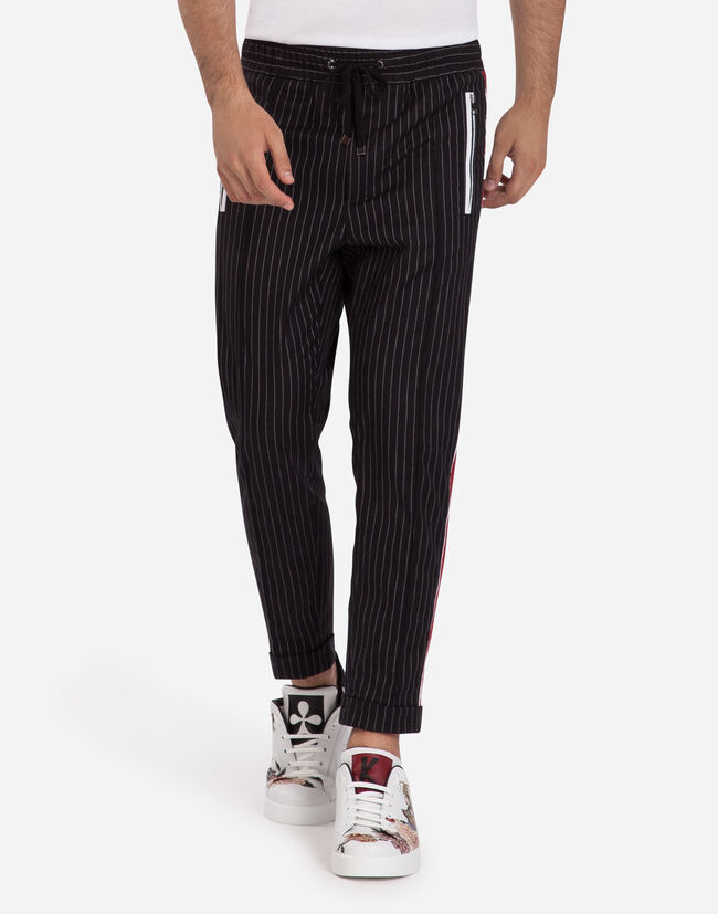 JOGGING PANTS IN STRETCH COTTON WITH STRIPE
