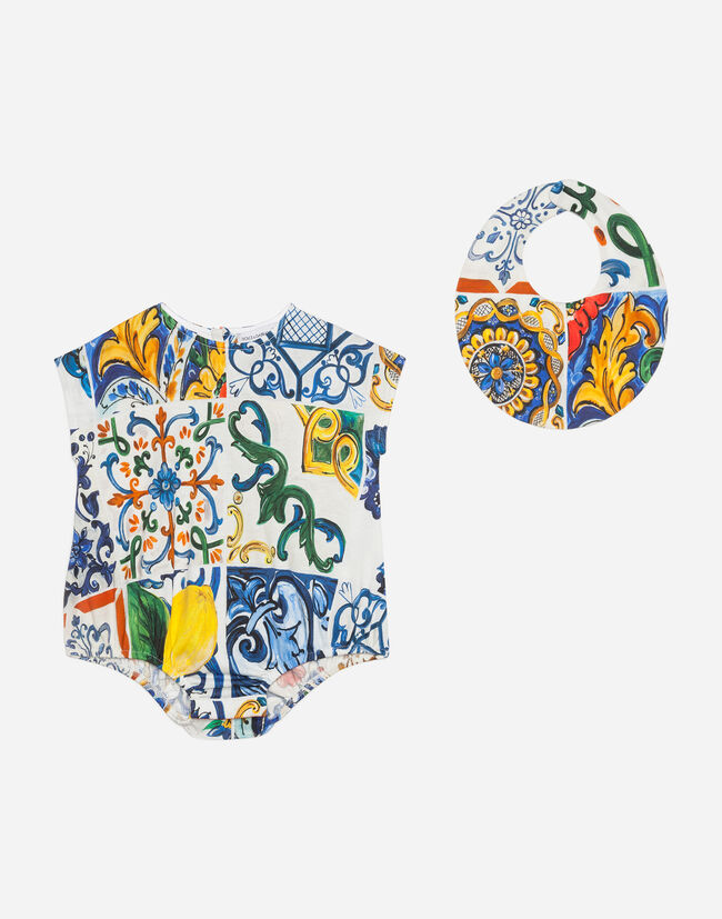 Dolce & Gabbana BABYGROW AND BIB SET IN PRINTED COTTON