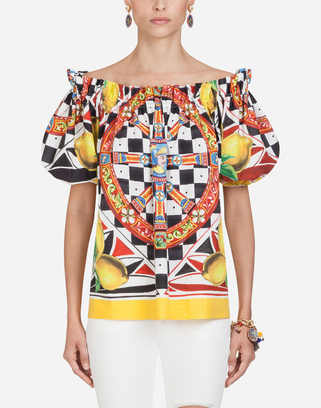 c5d2740447 Women's Shirts and Tops | Dolce&Gabbana - COTTON TOP WITH SICILIAN CARRETTO  AND LEMON PRINT
