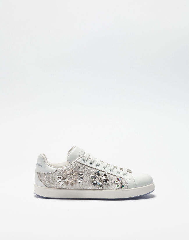 LEATHER AND LACE SNEAKERS WITH JEWELED APPLIQUÉS