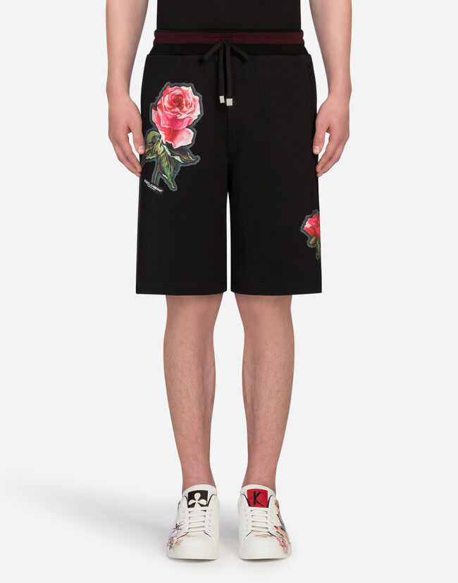 BERMUDA JOGGING SHORTS IN COTTON WITH PATCHES