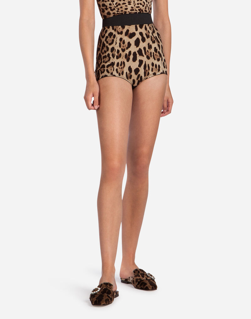 HIGH-WAISTED PANTIES IN LEOPARD PRINT CADY