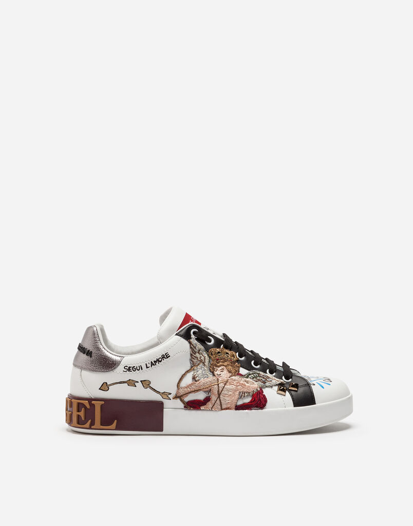 PORTOFINO SNEAKERS IN PRINTED CALFSKIN WITH CUPID PATCH AND APPLIQUÉS