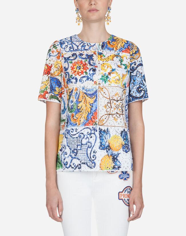 Dolce&Gabbana MAJOLICA-PRINT BRODERIE ANGLAISE TOP