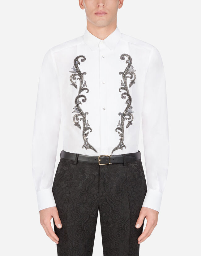 Dolce & Gabbana GOLD-FIT TUXEDO SHIRT IN COTTON WITH EMBROIDERY