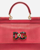 Dolce&Gabbana SMALL CALFSKIN SICILY BAG WITH IGUANA-PRINT AND DG CRYSTAL LOGO PATCH