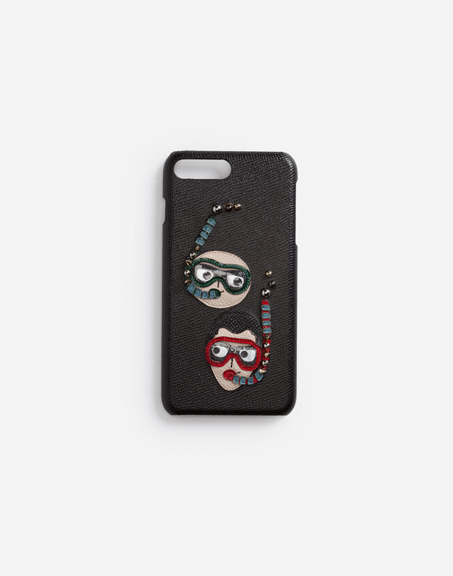 Dolce&Gabbana IPHONE 7/8 PLUS COVER IN DAUPHINE CALFSKIN WITH DIVER-STYLE PATCHES OF THE DESIGNERS