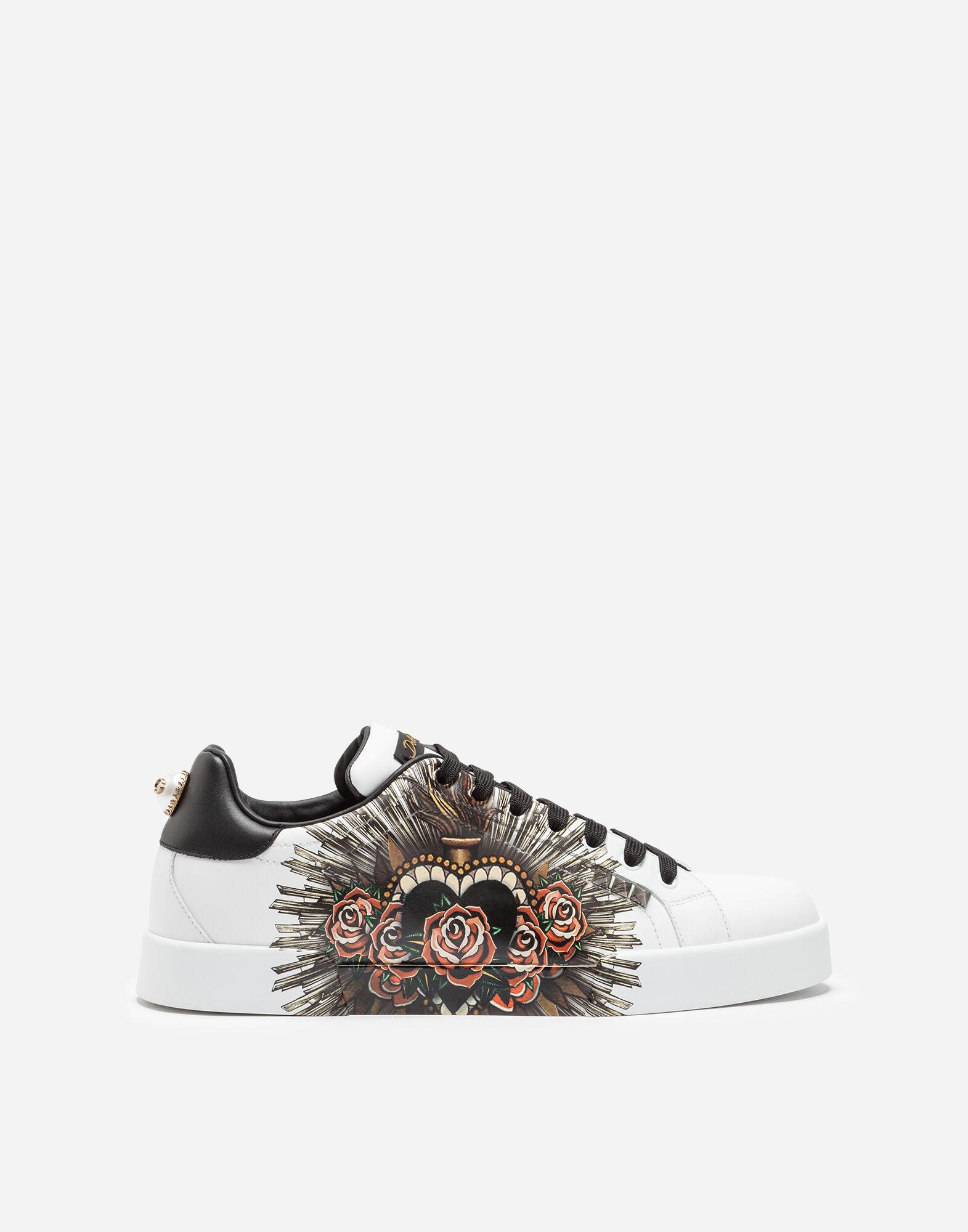 Dolce In Calfskin amp;gabbana Men Printed Sneakers Portofino w4xq1Xv8q
