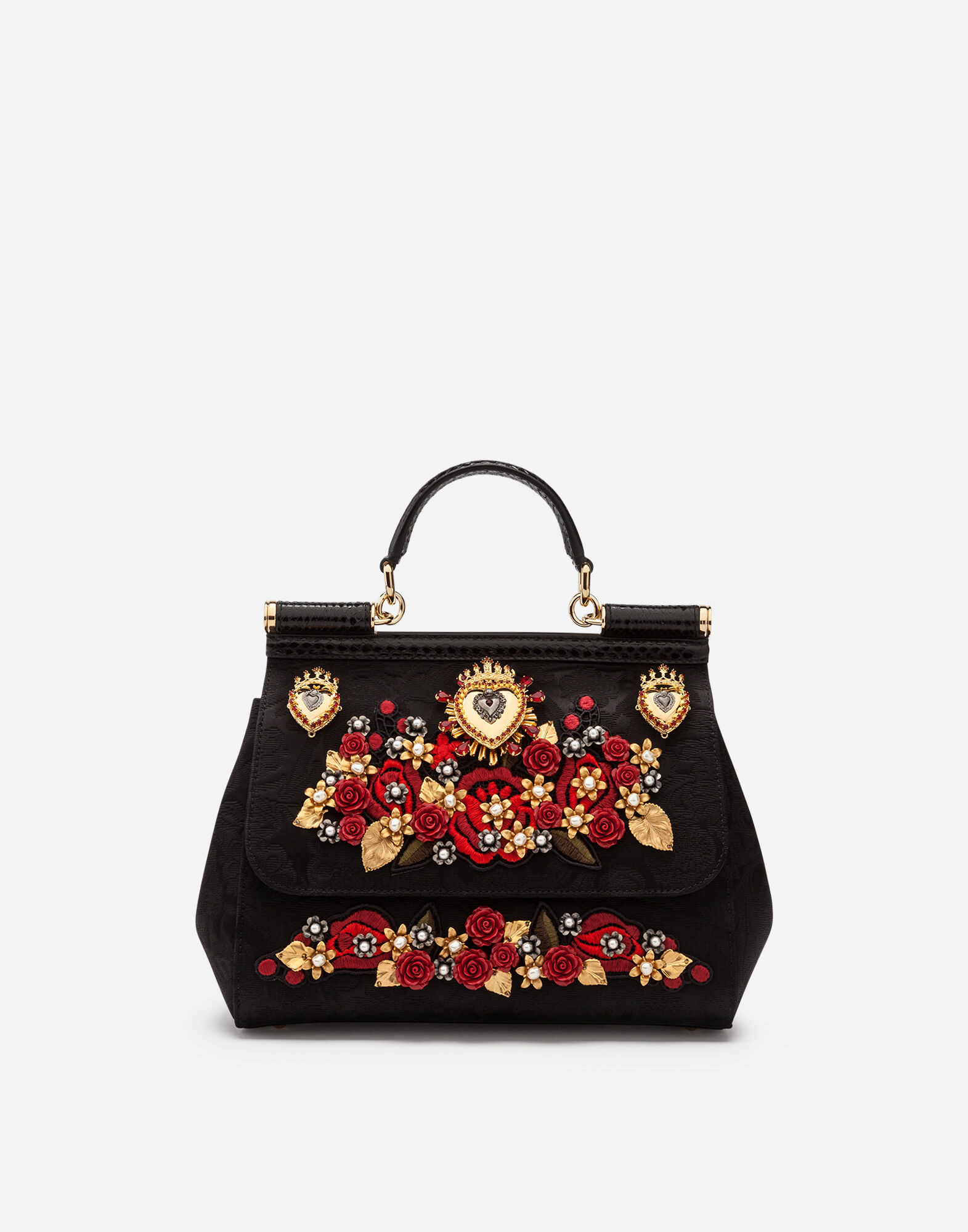 Medium Sicily Bag In Brocade With Appliqués And Embroidery in Black