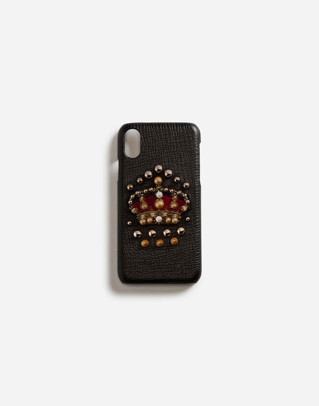 Dolce&Gabbana CALFSKIN IPHONE X COVER WITH CROWN PATCH