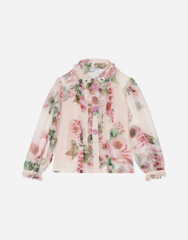 PRINTED SILK BLOUSE WITH EMBROIDERY