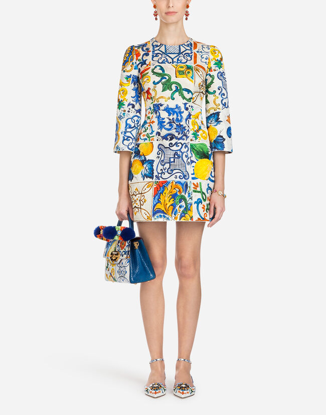 Dolce&Gabbana MAJOLICA-PRINT BROCADE DRESS