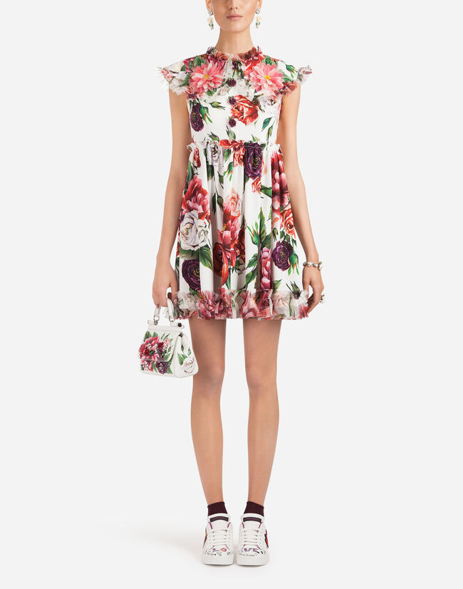 PEONY-PRINT CADY DRESS