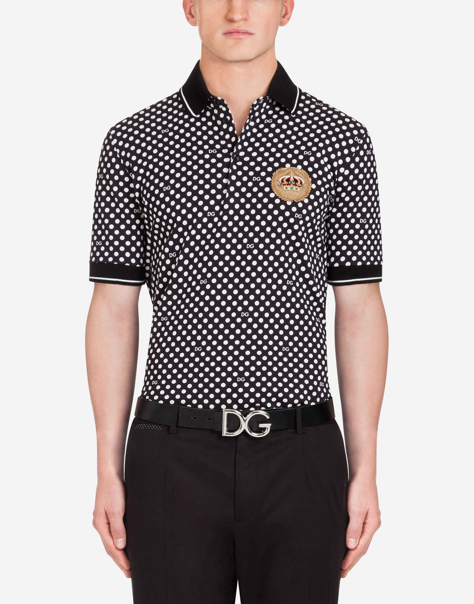 PRINTED COTTON PIQUÉ POLO SHIRT WITH PATCH from DOLCE & GABBANA