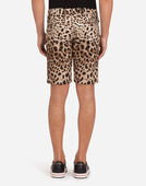 COTTON DRILL BERMUDA SHORTS WITH LEOPARD PRINT