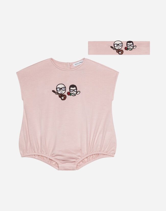Dolce & Gabbana ROMPER AND HEADBAND IN COTTON WITH PATCH