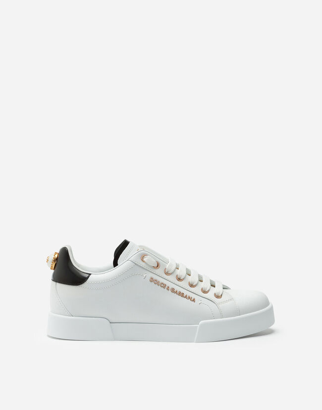 PORTOFINO SNEAKERS IN LEATHER WITH LOGO BEAD