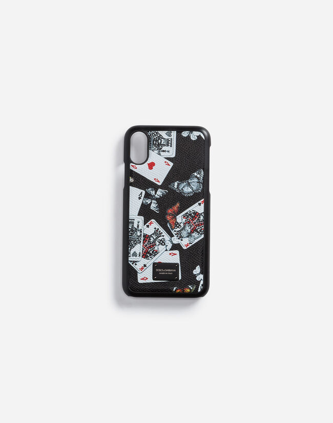 IPHONE X COVER IN LEATHER WITH LOGO PLATE