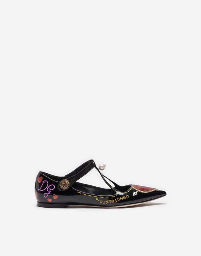 PRINTED LEATHER BALLET FLATS WITH APPLIQUÉ