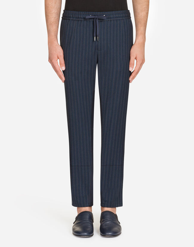Dolce&Gabbana JOGGING PANTS IN STRETCH COTTON AND WOOL