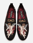 Dolce & Gabbana FABRIC SLIPPERS WITH EMBROIDERY