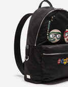 Dolce&Gabbana NYLON VULCANO BACKPACK WITH PATCHES OF THE DESIGNERS