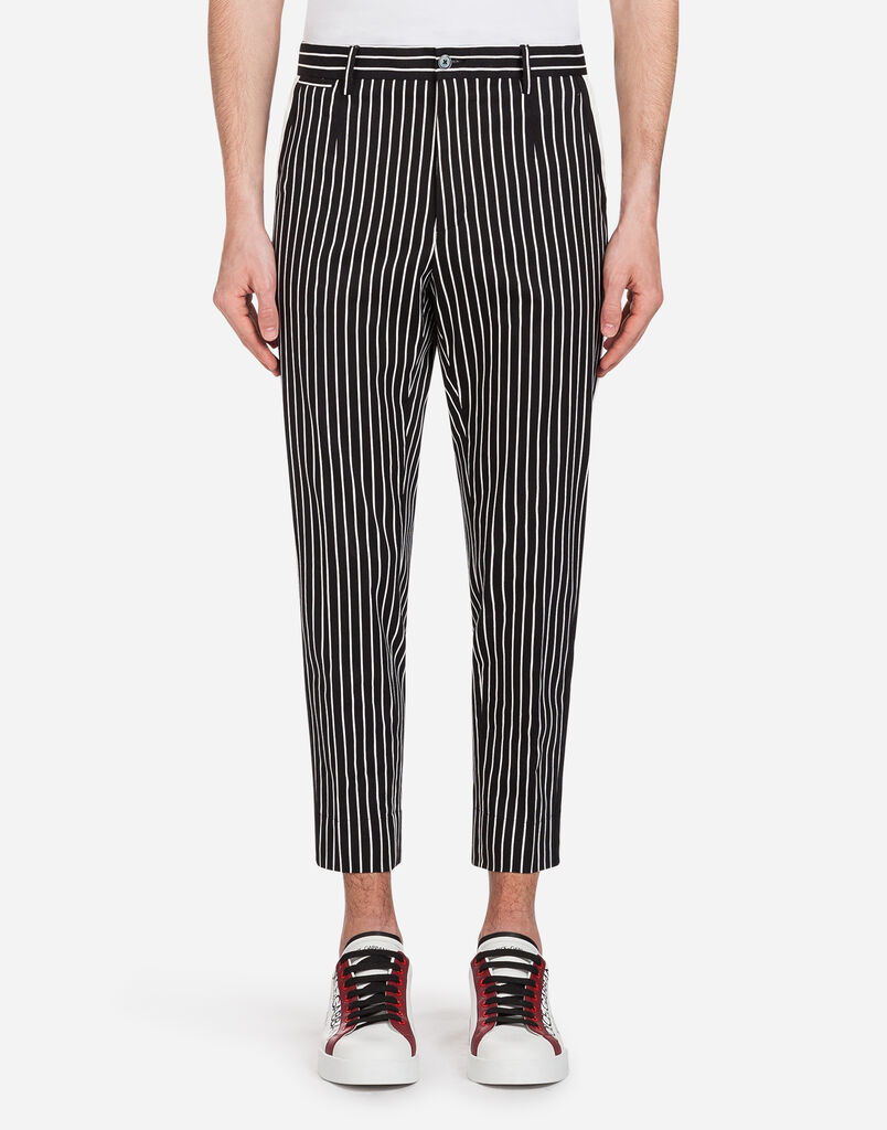 Dolce&Gabbana PRINTED STRETCH COTTON PANTS WITH PATCH