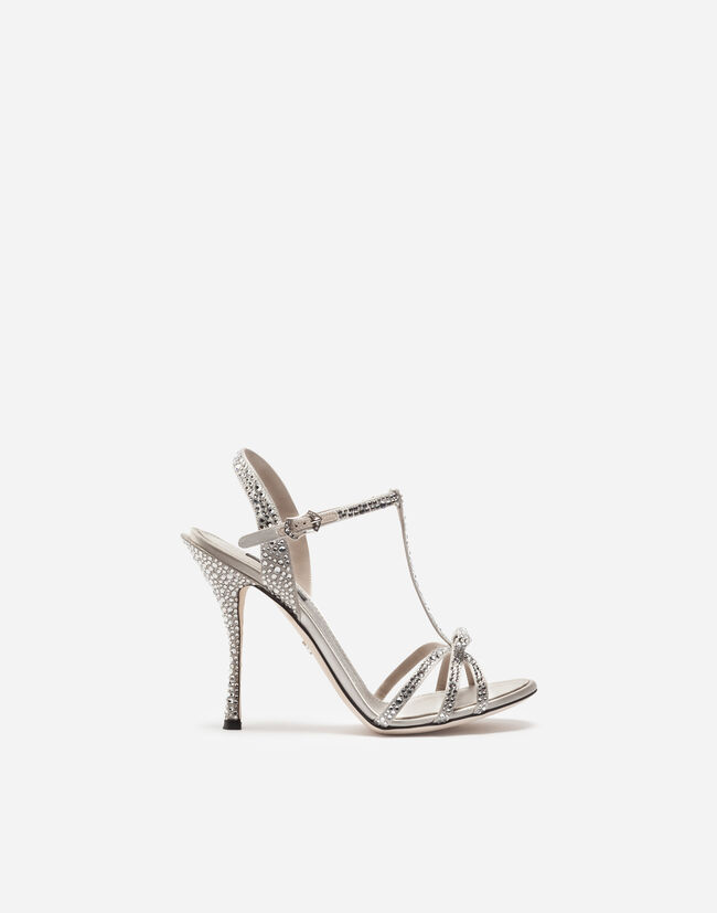 Dolce&Gabbana SATIN SANDALS WITH CRYSTALS