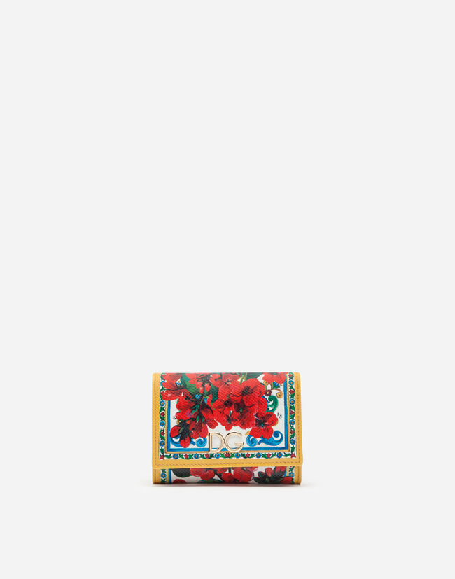 Dolce & Gabbana SMALL CONTINENTAL WALLET IN PRINTED DAUPHINE CALFSKIN WITH LOGO