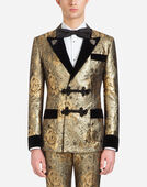 TUXEDO-STYLE SMOKING JACKET IN JACQUARD WOOL WITH PATCHES
