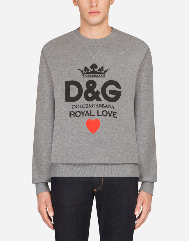 COTTON SWEATSHIRT WITH D&G PRINT