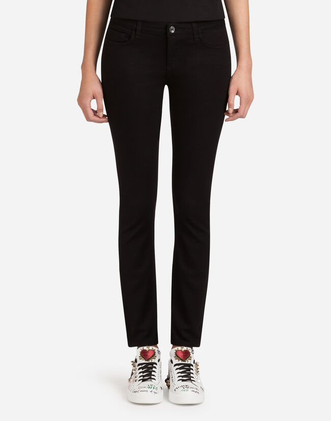 Dolce & Gabbana DENIM STRETCH FIT PRETTY JEANS WITH JACQUARD EMBROIDERY