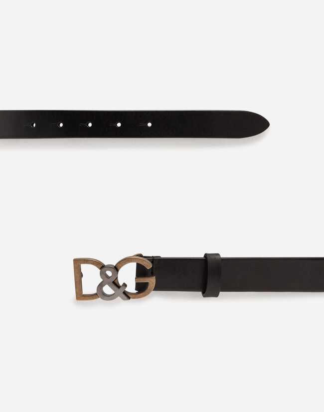 LEATHER BELT WITH BUCKLE FEATURING LOGO