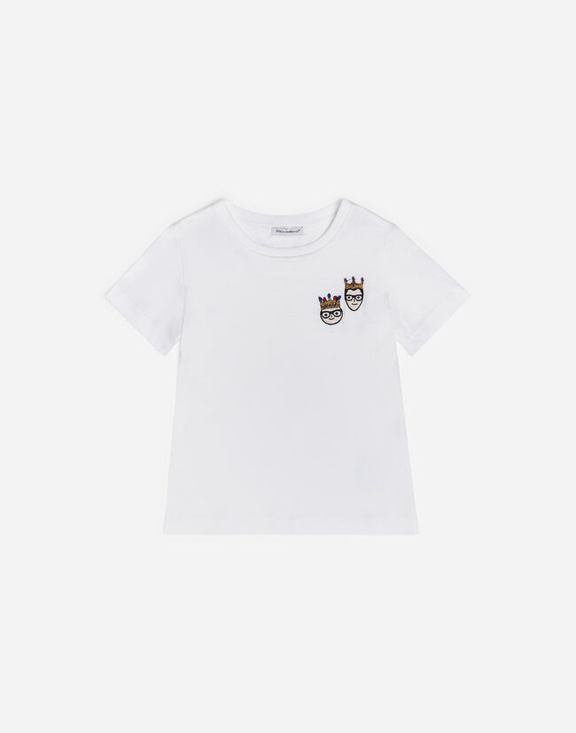 Dolce & Gabbana COTTON T-SHIRT WITH PATCHES OF THE DESIGNERS