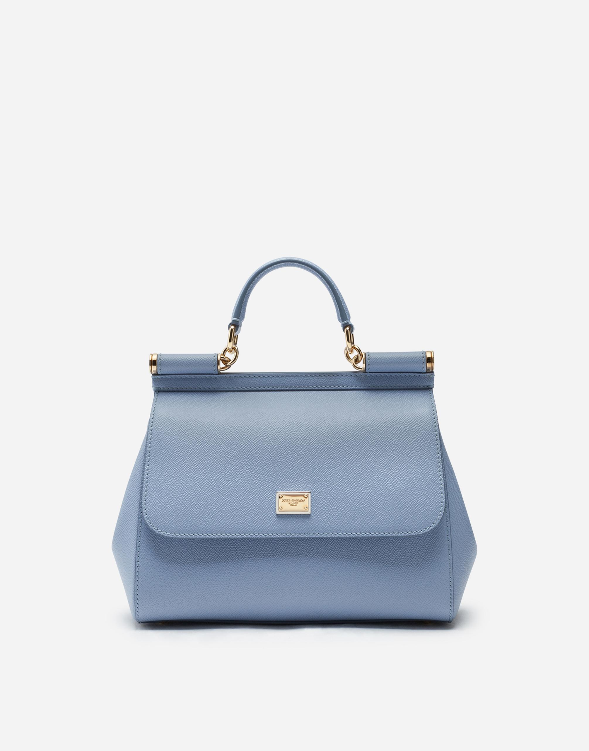 Dolce & Gabbana Medium Dauphine Leather Sicily Bag In Light Blue