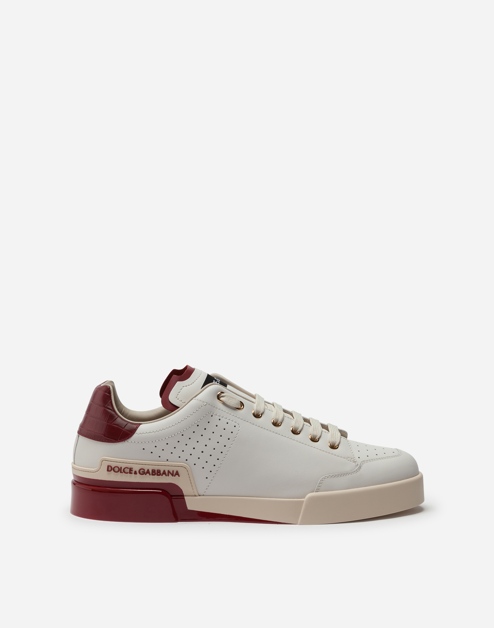 Dolce & Gabbana Calfskin Nappa Portofino Sneakers With Painted Sole In White